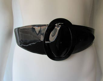 Belt bebe designer Black Patent  leather wide high fashion