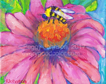 pink coneflower, echinacea, bee 8 x 10 floral painting by peggy johnson everygoodcolor