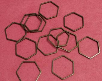 30pc 12mm antique bronze finish hexagon metal brass links-BB128