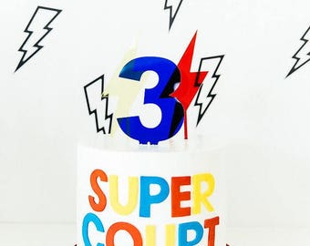 Yellow or red perspex lightning bolt superhero cake toppers decoration