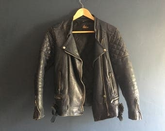 Womens Leather Biker Jacket UK 12 / medium Navy