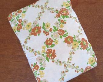 Vintage Sheet - Brown Yellow Floral Trellis - King Fitted Sheet