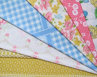 6 Vintage Sheet Fat Quarter Bundle - Reclaimed FQs in Pink Blue & Yellow