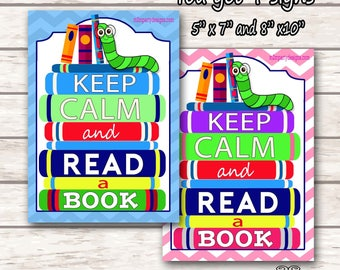 Keep Calm and Read a Book sign, Reading sign, Book lover sign, wood sign, teacher gift, classroom sign - DIY INSTANT DOWNLOAD
