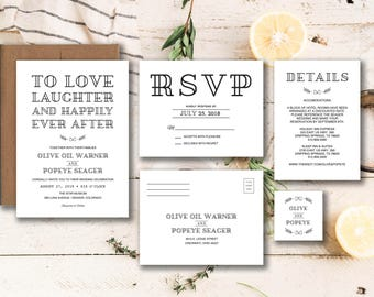 Happily Ever After Invitation Suite Printable Details and RSVP Card - Printable Invitation Modern Wedding Invitation Set