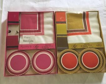 Vintage Mid Century Modern Napkin Coaster Packaged Set x 2