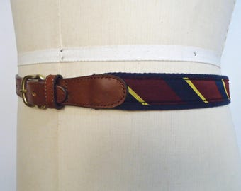 Lands' End Preppy Pattern Belt / ivy league diagonal stripe navy blue red yellow cotton cord fabric & brown leather belt / men's small
