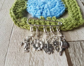 Stitch markers,  gardening stitch markers, gardening progress keepers, knitting stitch markers, crochet stitch markers, sock knitting marker