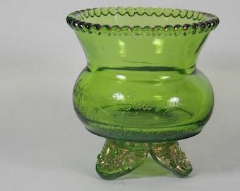 Antique 1898 EAPG U S Glass Colorado Green Toothpick Holder aka Lacy Medallion, Early American 1904 St Louis Worlds Fair Souvenir Glass - U