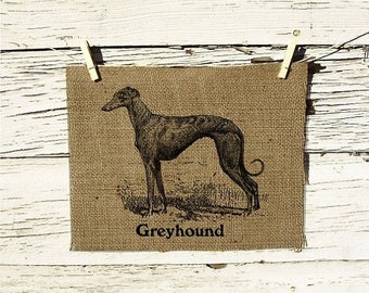 Sale Burlap Wall Decor Greyhound Vintage Art Ilustration
