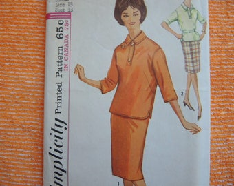 Vintage 1960s Simplicity sewing pattern 5062 juniors skirt and blouse size 13