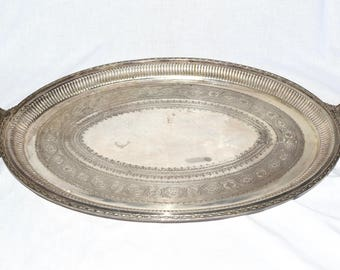 Striking silver tone tray…ornate Indian tray...large tray with handles...shabby chic.