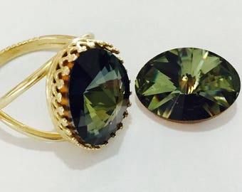 Vintage Tabac Green Brown Antique Silver plated or Gold Brass Finger Ring Adjustable Cocktail w/ Swarovski Crystal Rhinestone gem Lady Gift