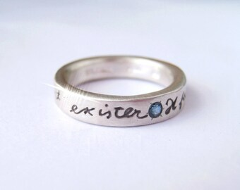Special RUSH Skinny French Poetry ring Il Faut Vivre Sterling Silver and Blue Sapphire