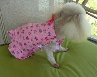 Extra Small Puppy Dress, Tiny Dog Dress in beautiful colorful butterfly motif in Bright Pink with a Hot Pink bow