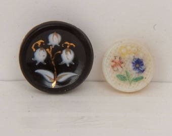 Vintage Garden Party Buttons Mixed Lot of 5