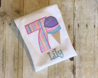 Ice cream birthday shirt,ice cream birthday, ice cream parlor party, summer shirt, girls birthday