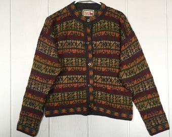 Nordic cardigan sweater, fall colors, southwestern pattern, 100% alpaca cardigan, Alpaca Connection sweater, medium sweater