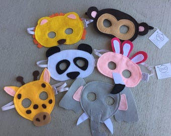 Zoo Animals Mask 3 or 6 Packs - Felt Masks, Elephant, Panda, Flamingo, Monkey, Giraffe, Lion, Dress Up, Costume, Party Favors, Halloween