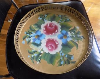 Vintage gold round metal toleware tray