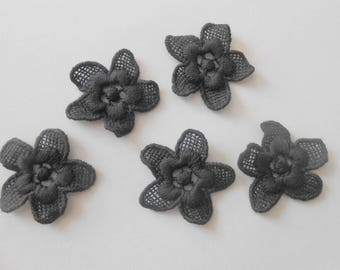 5 black flowers cotton 3 CMS for your creations