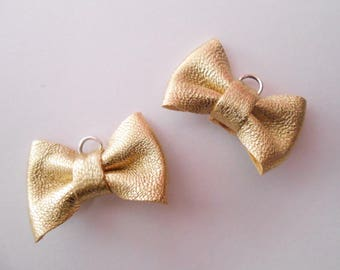 2 Mini gold leather knot of 2 x 3 cms hand-made