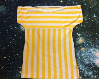 Vintage Knit Mates Yellow and White Striped Terrycloth T-Shirt