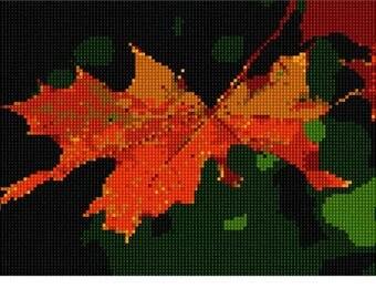 Needlepoint Kit or Canvas: Orange Leaf
