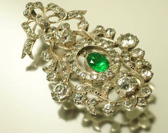 Antique/ estate Victorian 1800s, silver with green and clear paste pendant - jewellery jewelry