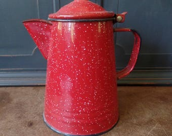 Vintage Red Enamelware Coffee Pot, Camping, Kitchen, Home Decor, Collectible