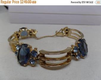 ON SALE SCHIAPARELLI Signed Vintage Blue Crystal Bracelet