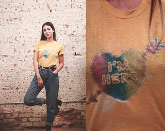 Vintage 1970s 80s XS / small I'm Her's iron-on graphic t-shirt -  distressed worn in threadbare - love - heart - glitter