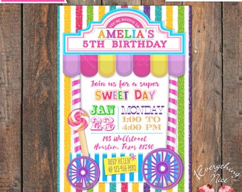 Candy Sweet Shoppe Theme Birthday Invitation with Backside and Thank you Card