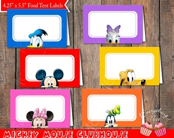 Mickey Mouse Clubhouse Theme Food Label Tent 2 Digital Download