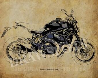 2016 DUCATI MONSTER 1200R -Original Drawing Fine Print, 11.5x16 in (29x41 cm), Classic motorcycle Art Print,Custom drawing men gift