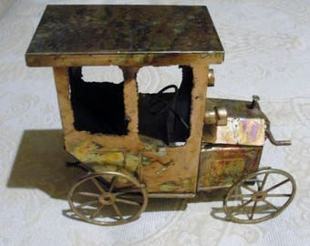 """Copper Jalopy Musical Metal Sculpture Vintage 3D Art Plays """"King of the Road"""""""