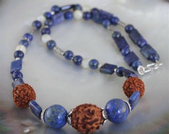 lapis lazuli, mother of Pearl necklace, seeds rudraska and silver