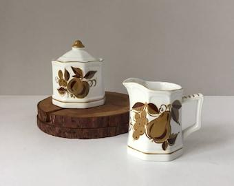Mikasa Terra Stone Romano 7118, Vintage Creamer and Sugar, Modern Rustic Tableware