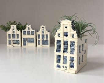 Amsterdam Canal Houses, Vintage Ceramic Planters, Dutch Houses, Hand Painted Delft Blauw, New Holland Floral, Succulent Herb Pots Blue White