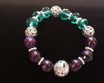 Purple and Green Faceted Beads Silver Stretch Bracelet