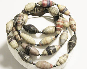 31 Rolled Paper Beads made in Uganda, African Fair Trade Beads (AL74)