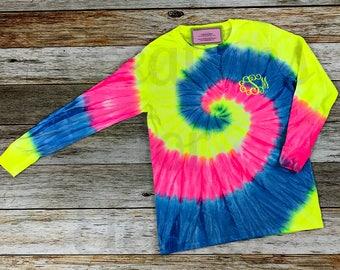 Womens Monogrammed Tshirt, Tie Dyed Tshirt, Monogrammed Tshirt, Monogram Shirt, Women's Tshirt, Tie Dye Monogrammed Tshirt,  Tie Dye