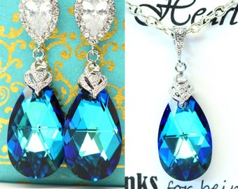 Blue Jewelry Set Necklace & Earrings Swarovski Jewelry Set Bridesmaid Jewelry Bermuda Blue Peacock Jewelry Bridal Wedding CZ Jewelry BB32JS
