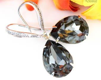 Grey Earrings Black Diamond Earrings Swarovski Crystal Silver Night Earrings Smoky Grey Earrings Charcoal Grey Earring Bridesmaid Gift SN31H