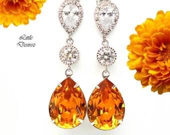 Topaz Earrings Bridal Earrings Amber Earrings Swarovski Crystal CZ Earrings Bridesmaid Earrings Chandelier Earrings Wedding Jewelry TO31PC