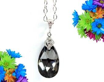 Charcoal Grey Necklace Smoky Grey Necklace Swarovski Jewelry Bridesmaid Gift Black Diamond Necklace Black Silver Titanium Gray Sparkly SN32N