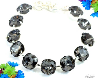 Grey Bracelet Charcoal Grey Bracelet Smoky Grey Jewelry Silver Night Swarovski Bracelet Chunky Bracelet 12mm Cushion Cut Crystal SN50BR