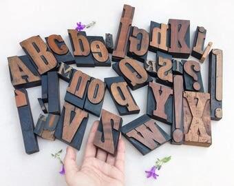 Antique wood letterpress lot / wooden type alphabet set / Italian typography stamps / vintage custom font / industrial letter press print