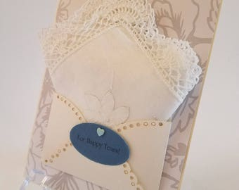 Vintage Appliqued Wedding Handkerchief Lace Edging White On White Accessory Bridal Gift Congratulations Keepsake Happy Tears Hanky Card
