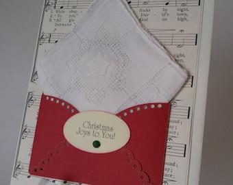 Christmas In July Handkerchief Christmas Star Vintage Embroidered Cut-work Keepsake Teacher Friend Relative Gift Hankie Card